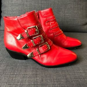 Shoemint red leather gold hardware ankle booties 7